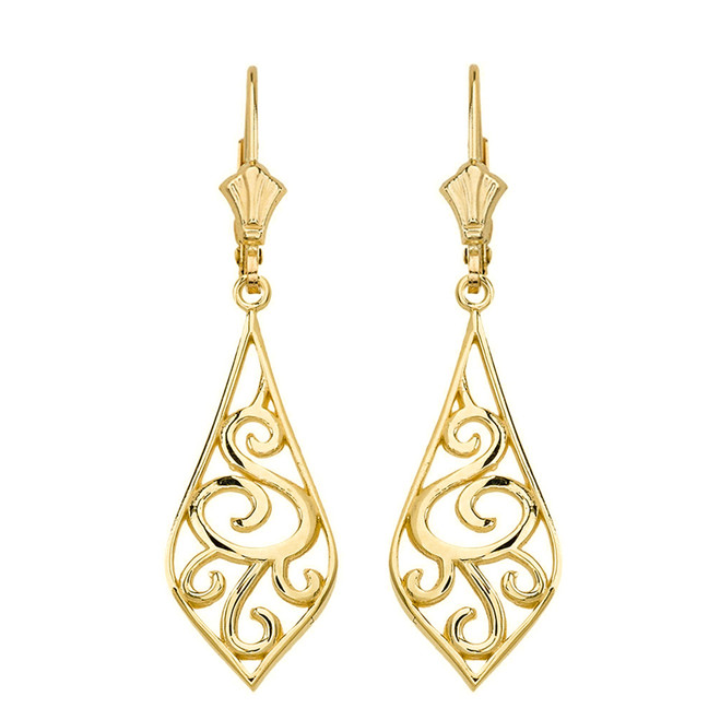 "14K Solid Yellow Gold Teardrop Filigree Tribal  Drop Earring Set 1.67"" (42 mm)"