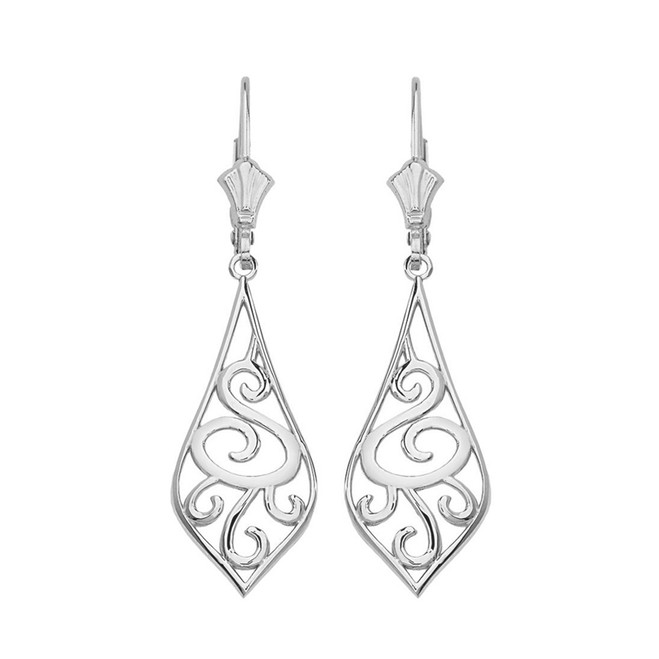 "14K Solid White Gold Teardrop Filigree Tribal  Drop Earring Set 1.67"" (42 mm)"