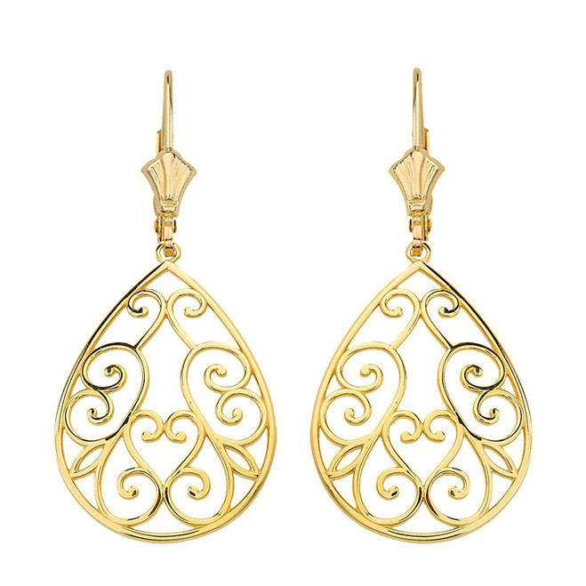 "14K Solid Yellow Gold Filigree Swirl Heart Teardrop Drop Earring Set 1.71"" (43 mm)"