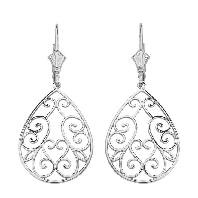"14K Solid White Gold Filigree Swirl Heart Teardrop Drop Earring Set 1.71"" (43 mm)"