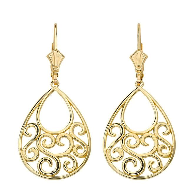 """14K Solid Yellow Gold Filigree Teardrop Tree of Life  Heart Drop Earring Set 1.71"""" (43 mm)"""