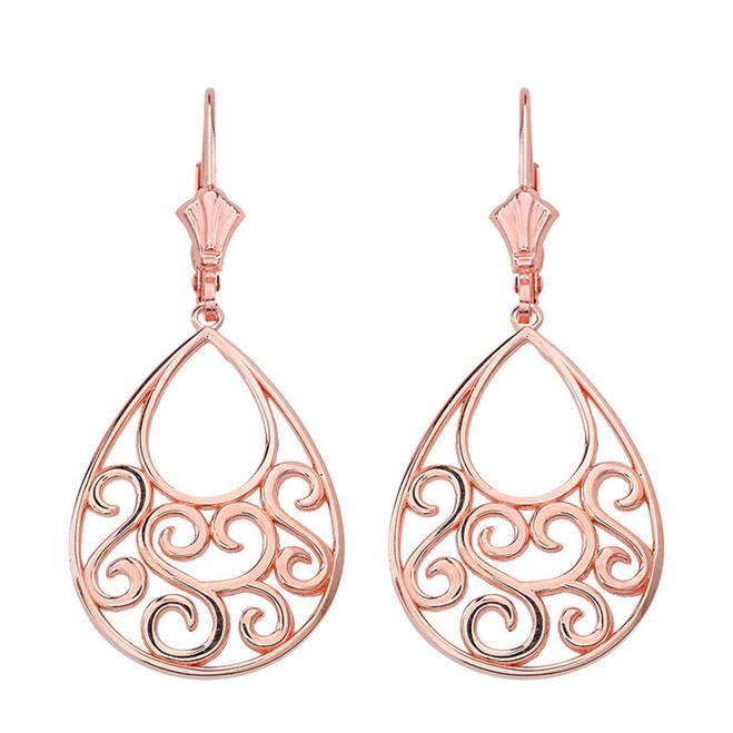 """14K Solid Rose Gold Filigree Teardrop Tree of Life  Heart Drop Earring Set 1.71"""" (43 mm)"""