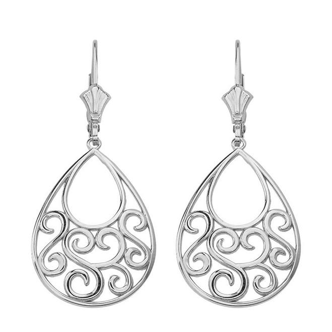 """Sterling Silver Filigree Teardrop Tree of Life  Heart Drop Earring Set 1.71"""" (43 mm)"""