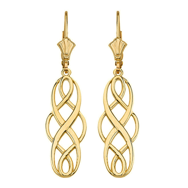 Solid Yellow Gold Celtic Knot Infinity Drop Earring Set