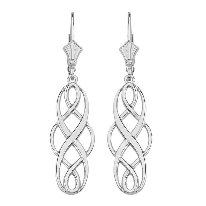 14K Solid White Gold Celtic Knot Infinity Drop Earring Set