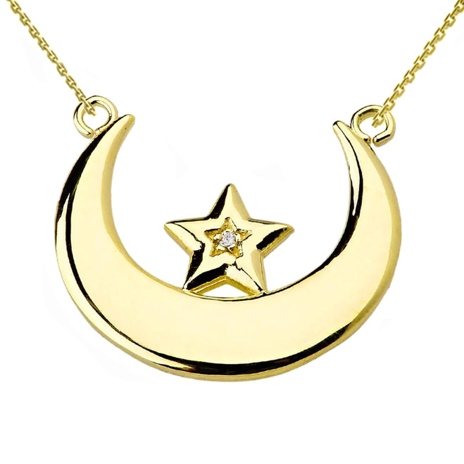 Yellow Gold Moon and Diamond Star Necklace