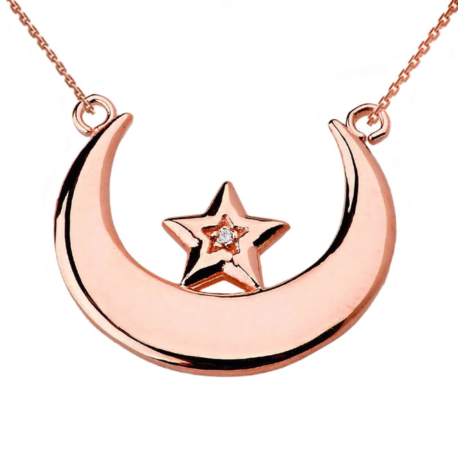 Rose Gold Moon and Diamond Star Necklace