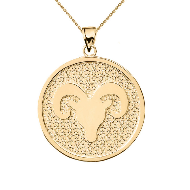 Yellow Gold Aries Zodiac Disc Pendant Necklace