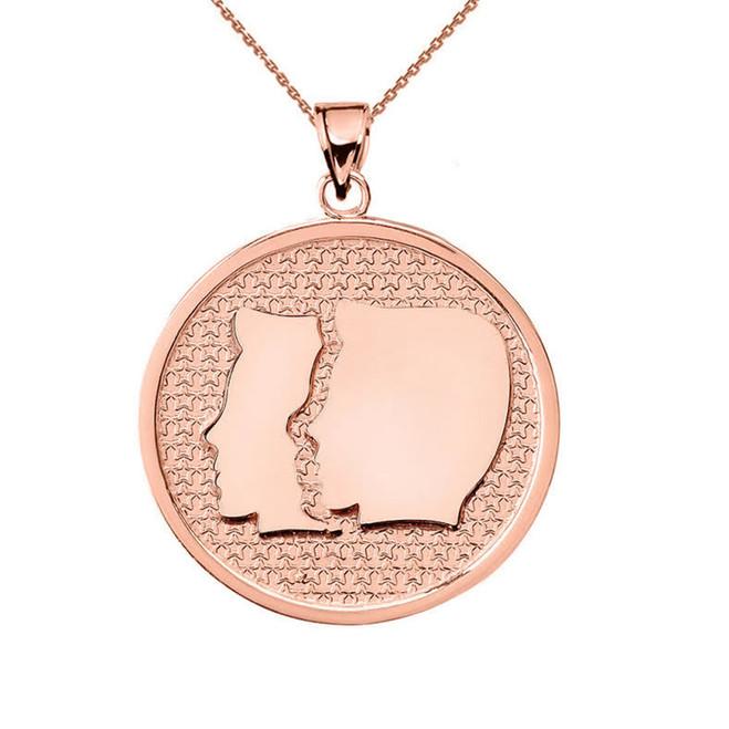Rose Gold Gemini Zodiac Disc Pendant Necklace