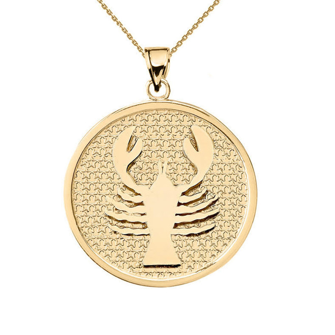 Yellow Gold Cancer Zodiac Disc Pendant Necklace