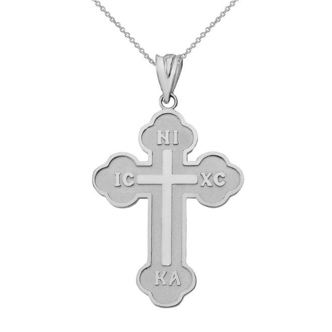 Solid White Gold Saint Nicholas Greek Orthodox IC XC NIKA Cross  Pendant Necklace (Large)