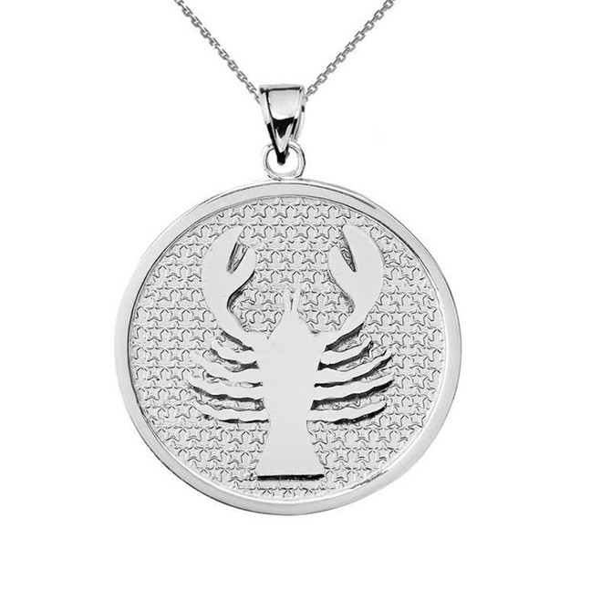 White Gold Cancer Zodiac Disc Pendant Necklace