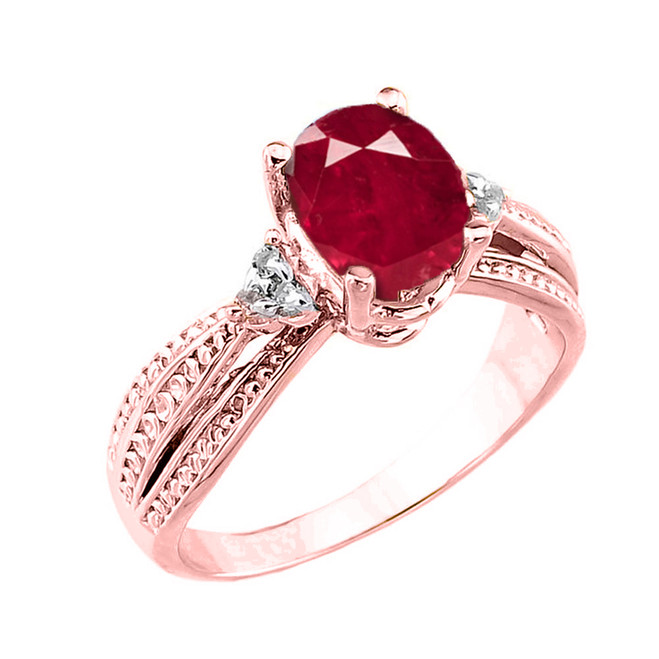 Rose Gold Genuine Ruby and Diamond Engagement Proposal Ring