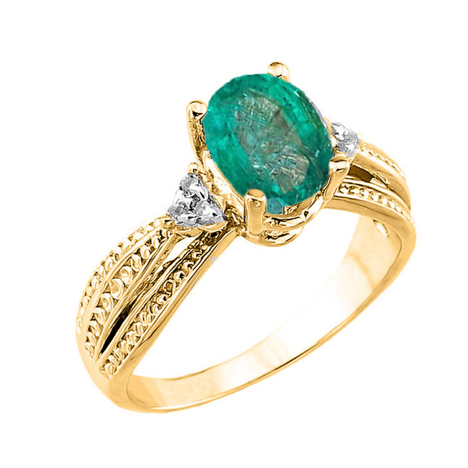 Yellow Gold Genuine Emerald and Diamond Engagement Proposal Ring