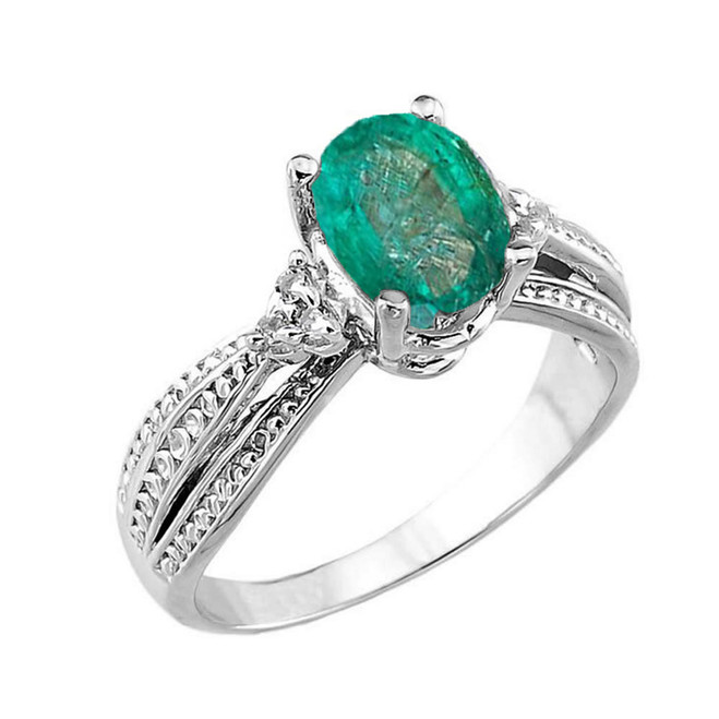 White Gold Genuine Emerald and Diamond Engagement Proposal Ring
