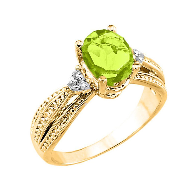 Yellow Gold Genuine Peridot and Diamond Engagement Proposal Ring
