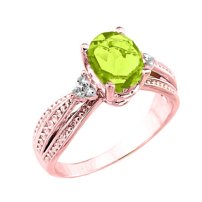 Rose Gold Genuine Peridot and Diamond Engagement Proposal Ring