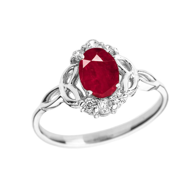 White Gold Genuine Ruby and Diamond Trinity Knot Proposal Ring