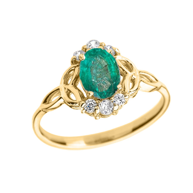 Yellow Gold Genuine Emerald and Diamond Trinity Knot Proposal Ring