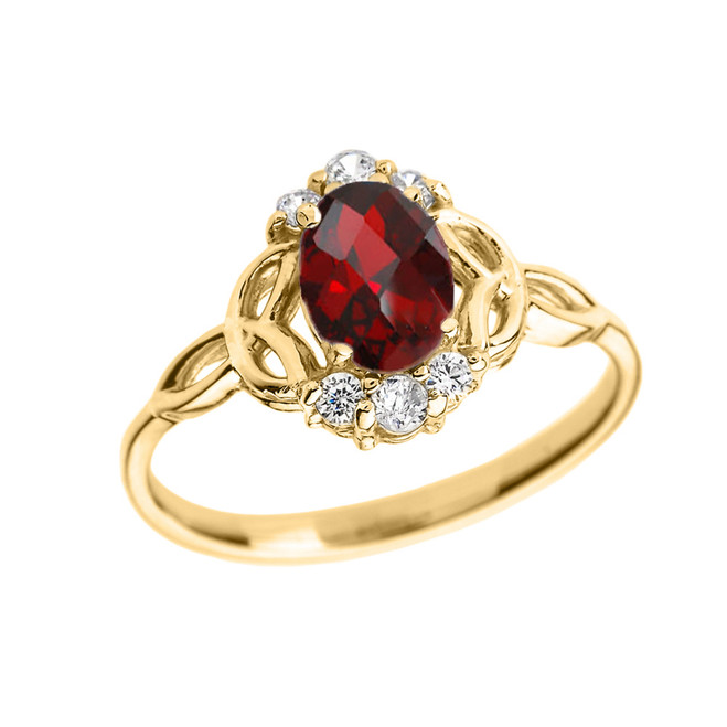 Yellow Gold Genuine Garnet and Diamond Trinity Knot Proposal Ring