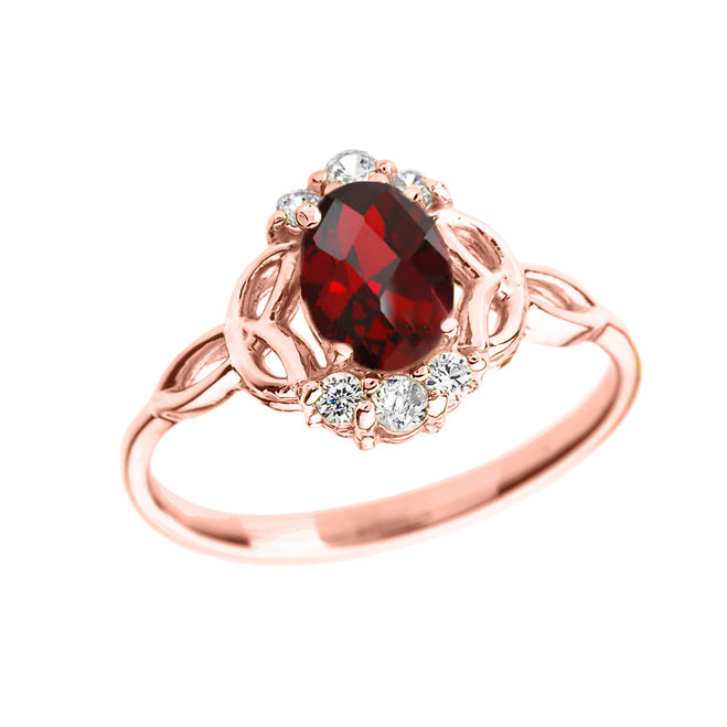 Rose Gold Genuine Garnet and Diamond Trinity Knot Proposal Ring