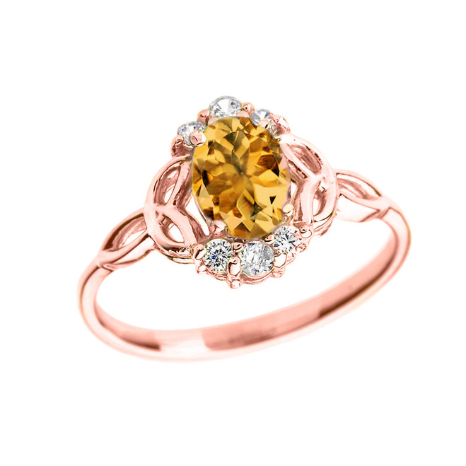 Rose Gold Genuine Citrine and Diamond Trinity Knot Proposal Ring
