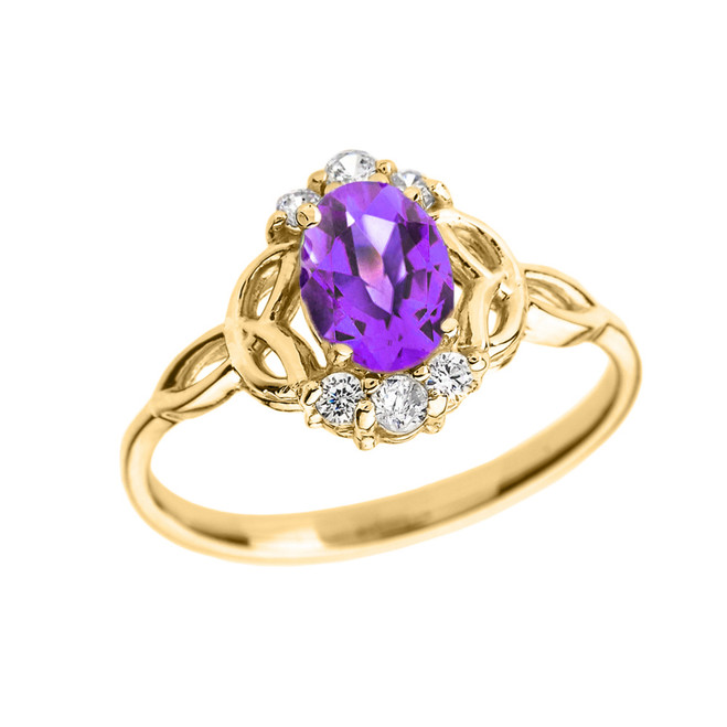 Yellow Gold Genuine Amethyst and Diamond Trinity Knot Proposal Ring