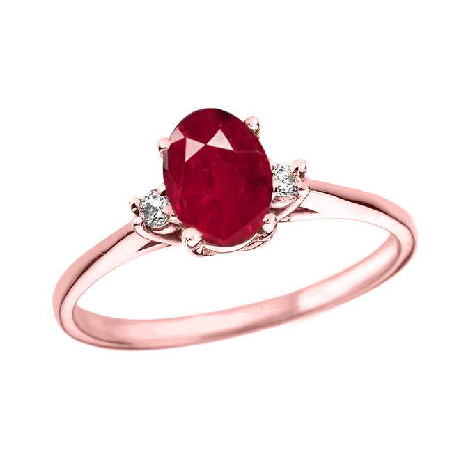 Rose Gold Oval Ruby and Diamond Engagement Proposal Ring
