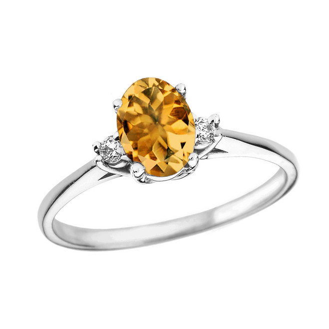 White Gold Oval Genuine Citrine and Diamond Engagement Proposal Ring