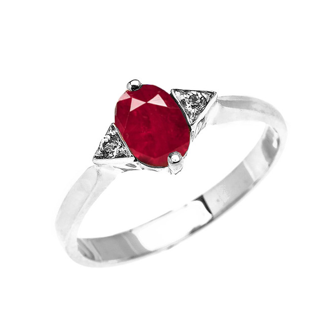 White Gold Solitaire Oval Genuine Ruby and White Topaz Engagement/Promise Ring