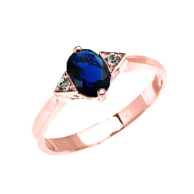 Rose Gold Solitaire Oval Genuine Sapphire and White Topaz Engagement/Promise Ring