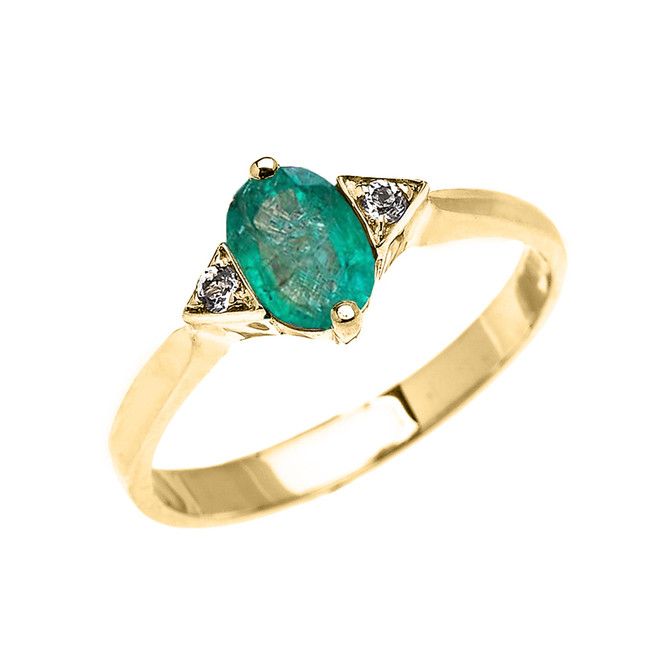 Yellow Gold Solitaire Oval Genuine Emerald and White Topaz Engagement/Promise Ring