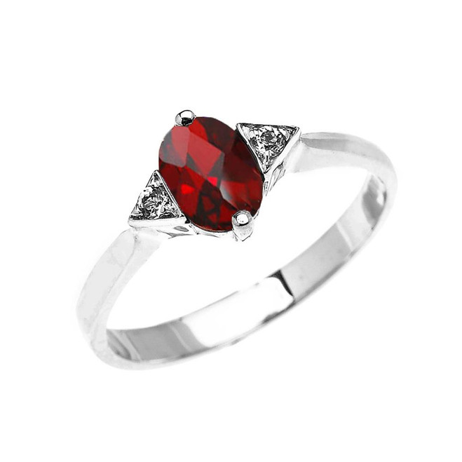 White Gold Solitaire Oval Genuine Garnet and White Topaz Engagement/Promise Ring