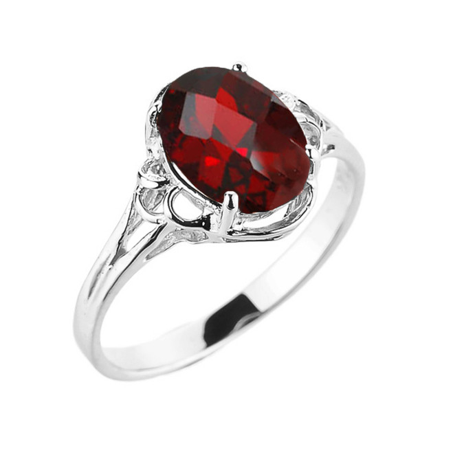 White Gold Genuine Garnet Gemstone Ring