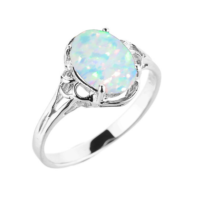 White Gold Simulated Opal Gemstone Ring