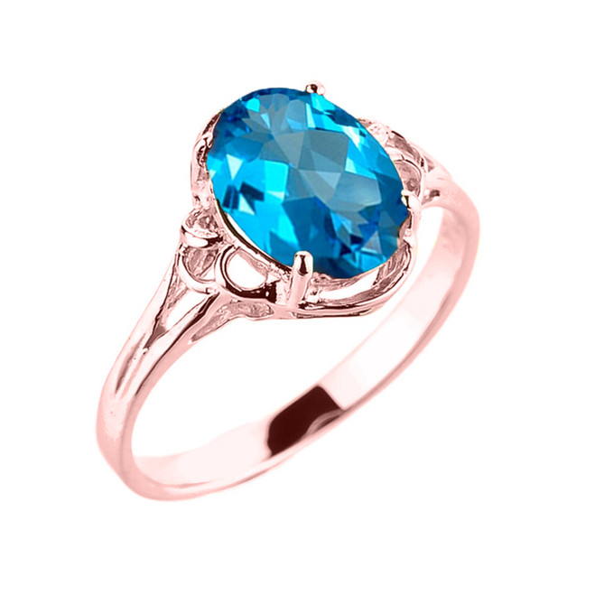 Rose Gold Genuine Blue Topaz Gemstone Ring