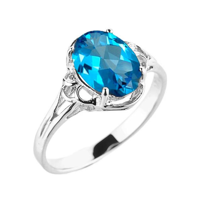 White Gold Genuine Blue Topaz Gemstone Ring