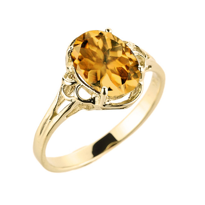 Yellow Gold Genuine Citrine Gemstone Ring