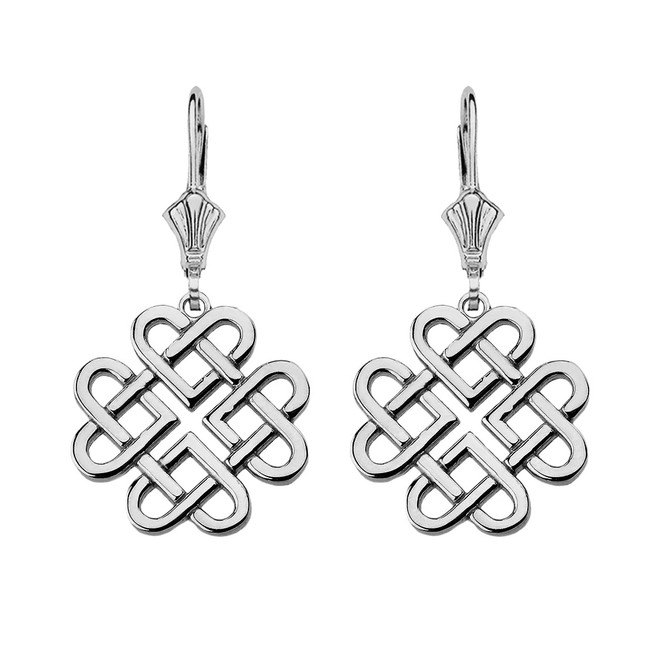 Sterling Silver Woven Celtic Hearts Drop Earring Set