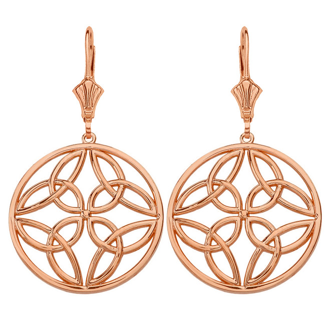 14K Solid Rose Gold Triquetra Trinity Celtic Knot Circle Drop Earring Set  (Large)