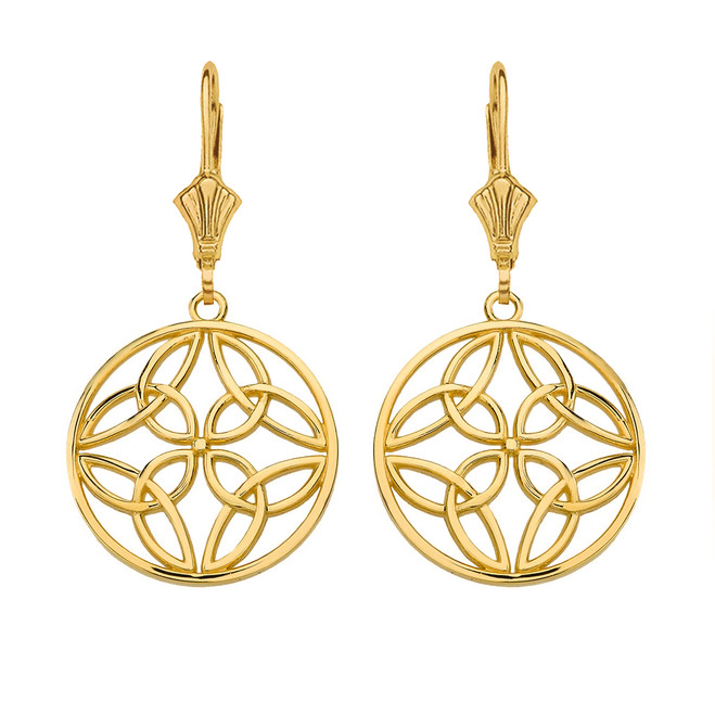 14K Solid Yellow Gold Triquetra Trinity Celtic Knot Circle Drop Earring Set  (Small)