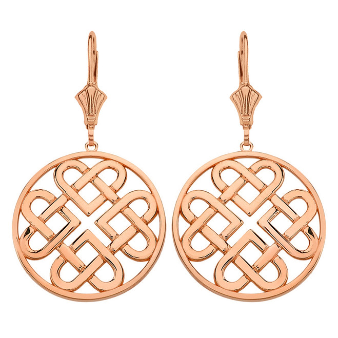 14K Solid Rose Gold Woven Celtic Hearts Circle Drop Earring Set  (Large)