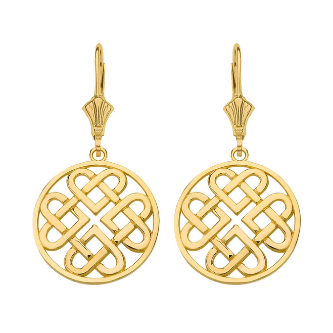14K Solid Yellow Gold Woven Celtic Hearts Circle Drop Earring Set  (Small)
