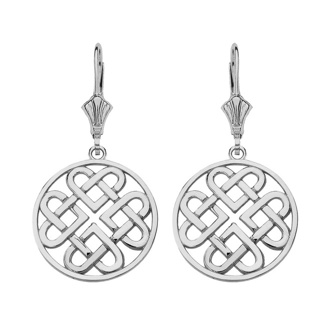 14K Solid White Gold Woven Celtic Hearts Circle Drop Earring Set  (Small)