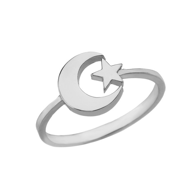 Solid White Gold Islamic Allah Crescent Moon and Star Ring