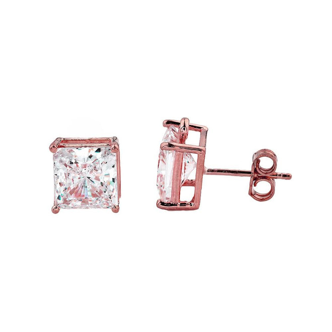 10k Rose Gold Elegant Princess Cut Stud Earrings