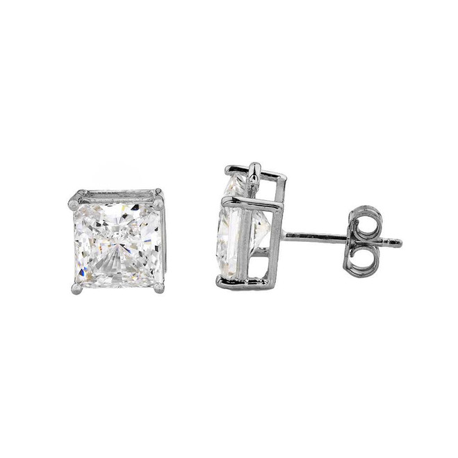 White Gold Elegant Princess Cut Stud Earrings