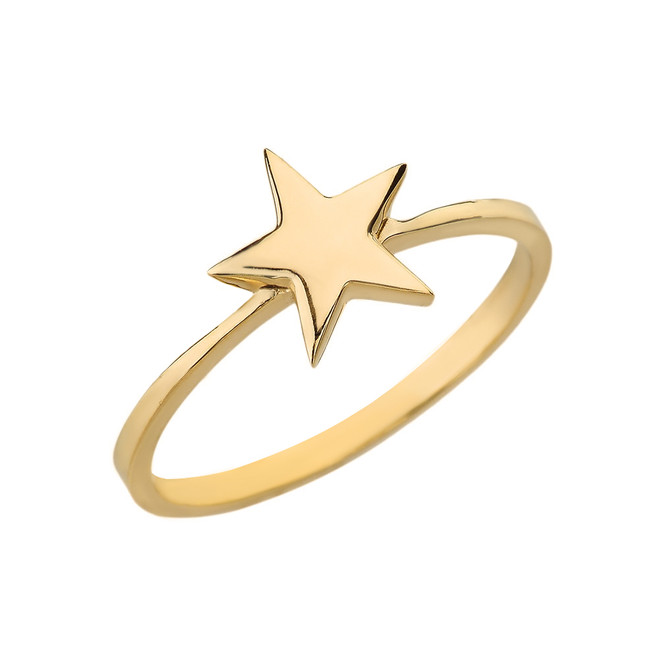 Solid Yellow Gold Star Stackable Ring