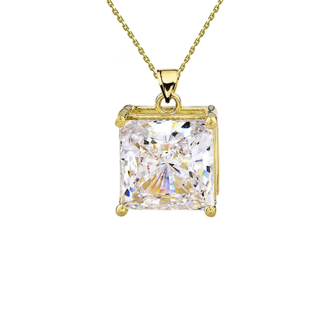 Yellow Gold Elegant Princess Cut Necklace