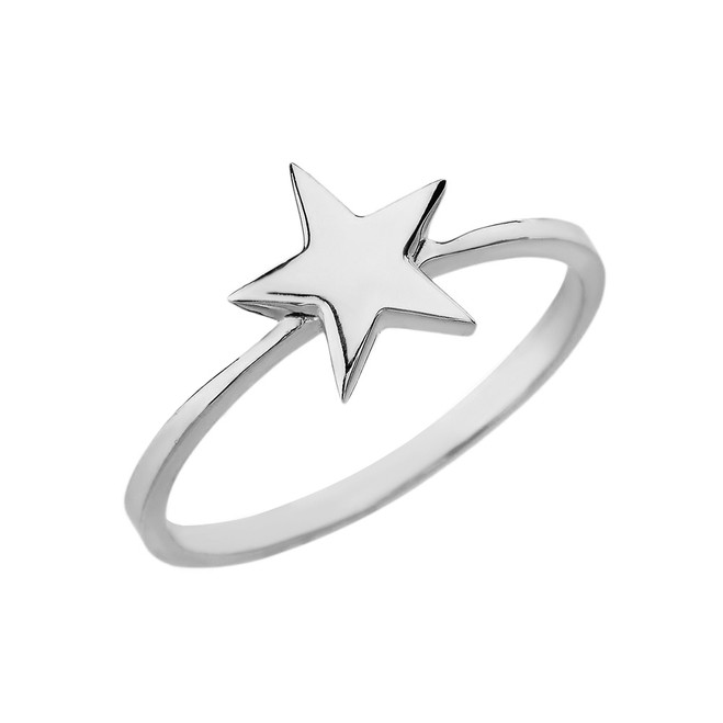 Solid White Gold Star Stackable Ring